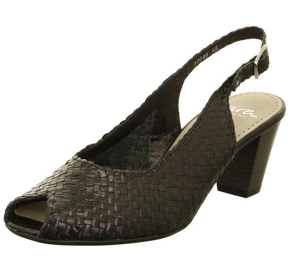 881f03709 ARA - Sandále - Čierne dámske otvorené sandále na vysokom podpätku ...