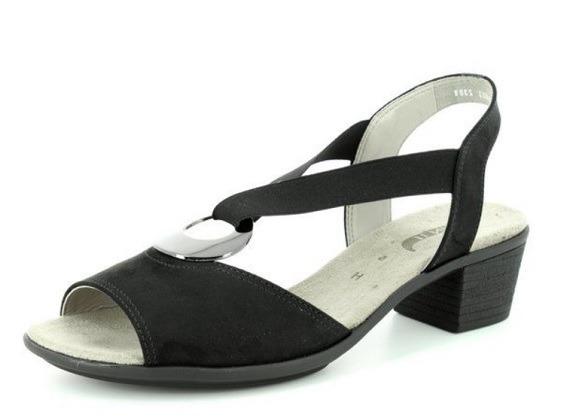 da8572afc28a6 ARA - Sandále - Čierne dámske sandále na nízkom podpätku značky Jenny
