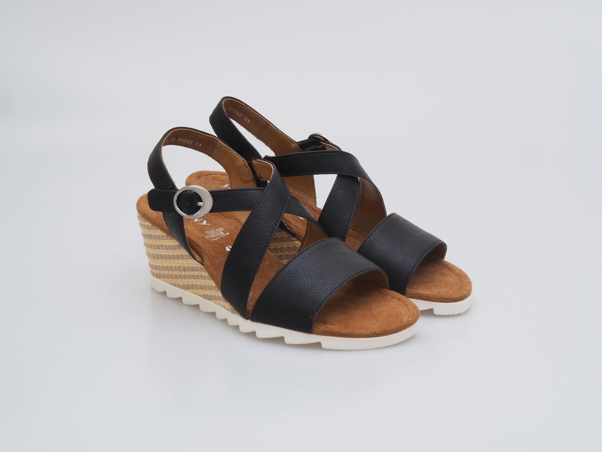 4d960d8e5386 ARA - Sandále - Dámska otvorená sandála na klinovom podpätku čierna