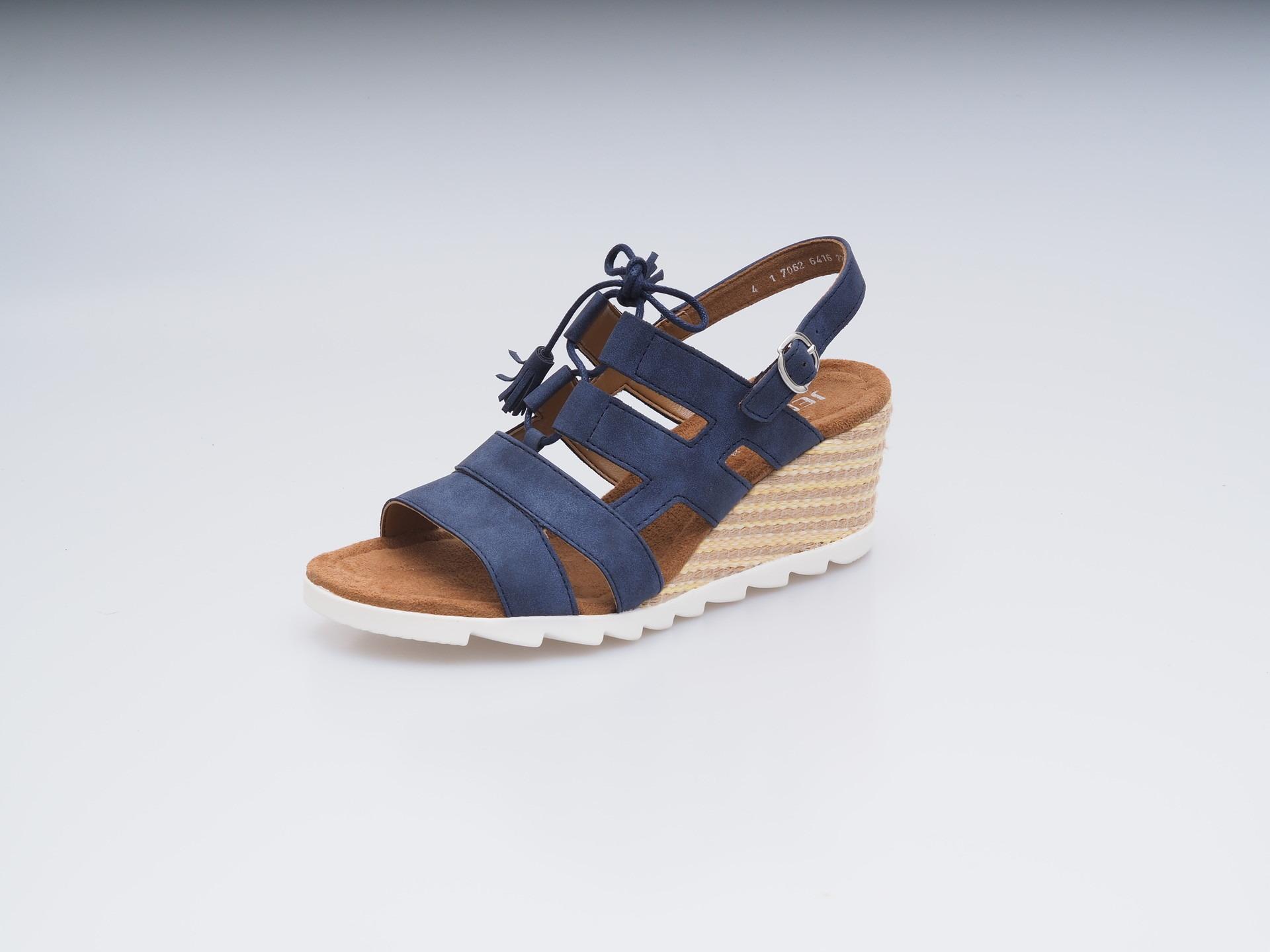 99553f7da6 ARA - Sandále - Dámska otvorená sandála na klinovom podpätku modrá