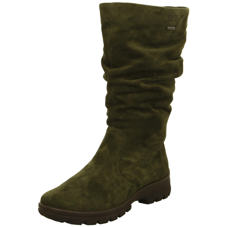 485f5140a Zelené dámske čižmy vysoké zateplené na nízkom podpätku značky Ara
