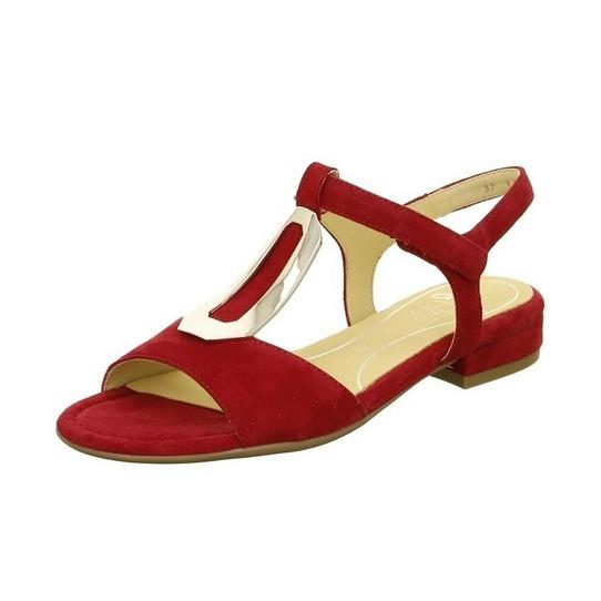 ccd45e9ff8225 Červené dámske otvorené sandále na nízkom podpätku značky Ara ...